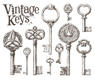 Ретро ключевой шаблон дизайна логотипа вектора антиквариаты или иллюстрация штока