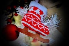 Ретро лед катается на коньках украшение для рождественской елки рождество моя версия вектора вала портфолио Новый Год рождества К стоковое фото rf