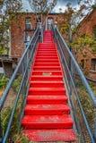 Ретро лестница к третьему рассказу в Prescott Аризоне стоковая фотография rf