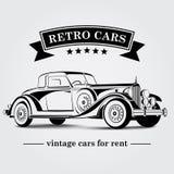 Ретро линии конспекта логотипа автомобиля также вектор иллюстрации притяжки corel Стоковое Изображение