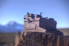 Ретро машинка металла на пне дерева Стоковые Фото