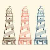 Ретро маяки установленные на белую предпосылку Линия искусство конструкция самомоднейшая Стоковое Изображение RF