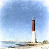 Ретро маяк Barnegat, свет Barnegat, Нью-Джерси texutred v Стоковые Фото