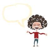 ретро мальчик шаржа с большими волосами Стоковые Изображения RF
