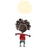 ретро мальчик шаржа с большими волосами Стоковое Изображение RF