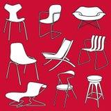 Ретро мебель стулов на красном цвете Стоковое Изображение RF