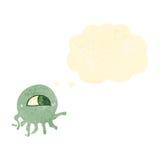 ретро медузы чужеземца шаржа с пузырем мысли Стоковые Изображения RF