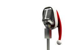 Ретро микрофон с шляпой santa бесплатная иллюстрация