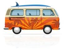 Ретро минифургон с иллюстрацией вектора surfboard Стоковые Изображения RF