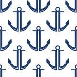 Ретро морская синь ставит безшовную картину на якорь Стоковое фото RF