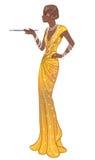 Ретро мода: девушка очарования женщины афроамериканца двадчадк иллюстрация штока