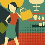 Ретро молодая женщина на покупках Стоковое Изображение