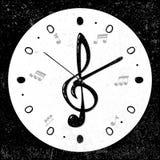 Ретро, музыкальный дискантовый ключ, замечает концепцию часов, вектор Стоковая Фотография RF