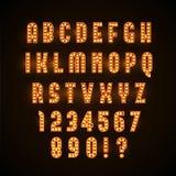 Ретро накаляя шрифт с желтыми лампами eps 10 бесплатная иллюстрация