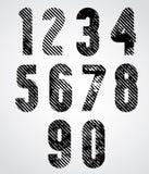 Ретро номера стиля с линиями полутонового изображения печатают текстуру и rounde Стоковые Изображения RF