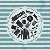 Ретро одежда & аксессуары стиля битника иллюстрации иллюстрация штока