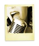 ретро певица стоковые фотографии rf