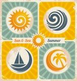 Ретро плакат летнего отпуска Стоковая Фотография RF