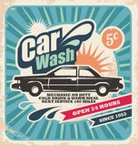 Ретро плакат мытья автомобиля иллюстрация штока