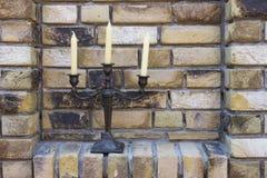 Ретро подсвечник с свечами Стоковое Изображение