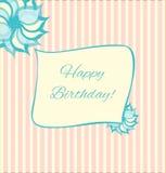 Ретро поздравительая открытка ко дню рождения стиля в пинке и сини. Стоковая Фотография RF