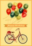 Ретро поздравительая открытка ко дню рождения с велосипедом Стоковая Фотография RF