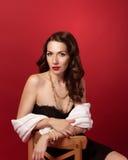 Ретро портрет красивой девушки стоковая фотография rf