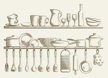 Ретро полки кухни и варя утвари Стоковые Изображения RF