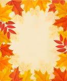 Ретро предпосылка осени с красочными листьями Стоковые Фотографии RF
