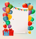 Ретро предпосылка праздника с красочными воздушными шарами Стоковые Фото