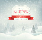 Ретро предпосылка рождества праздника с lan зимы иллюстрация вектора