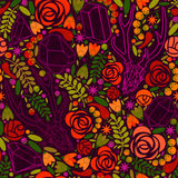 Ретро предпосылка с кристаллами, розами и специями Стоковая Фотография