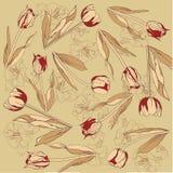 Ретро предпосылка с тюльпанами бесплатная иллюстрация