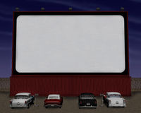 Ретро привод кинотеатра за пятьдесят в иллюстрации Стоковые Фотографии RF