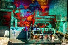 РЕТРО промышленный абстрактный огонь двойной экспозиции бесплатная иллюстрация