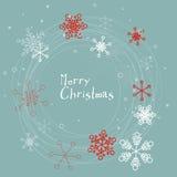 Ретро простая рождественская открытка с снежинками Стоковые Фотографии RF