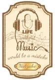 Ретро плакат живой музыки Стоковое Изображение RF