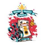 Ретро плакат партии музыки с счастливой магнитофонной кассетой Стоковые Фото