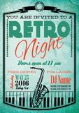 Ретро плакат для афиши с саксофоном и роялем Стоковое Изображение