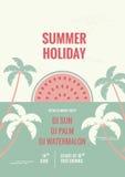 Ретро плоская предпосылка Тропическая рогулька летнего отпуска с солнцем Стоковые Фотографии RF