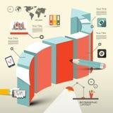 Ретро плоский план Infographic дизайна Стоковое Изображение