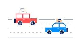 2 ретро плоских автомобиля, путешествуя Стоковое Изображение