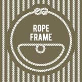 Ретро рамка круглой веревочки с узлом иллюстрация штока