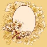 Ретро рамка с экзотическими цветками Стоковое Изображение