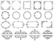 Ретро рамки украшения Винтажная филигранная граница свирлей, элегантная декоративная рамка и богато украшенные элементы классики  иллюстрация штока