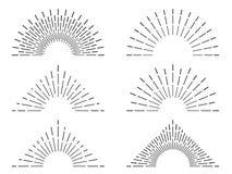 Ретро рамки sunburst Винтажные лучи излучающего солнца Линии взрыва пламени фейерверка Абстрактный комплект иллюстрации вектора с Стоковое фото RF