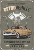 Ретро ремонт автомобиля, обслуживание автоматического механика бесплатная иллюстрация