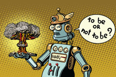 Ретро робот и ядерный взрыв, война и конфликт бесплатная иллюстрация