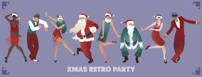 Ретро рождественская вечеринка Группа в составе 4 люд и 4 девушки танцуя Чарлстон бесплатная иллюстрация