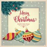 Ретро рождественская открытка с безделушками иллюстрация штока
